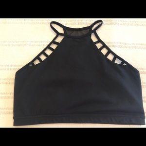Express Black halter athletic bra top large